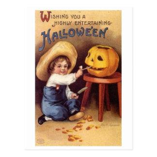 Entertaining Halloween Boy Carving Pumpkin Postcards