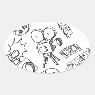 Entertainment Doodles Oval Sticker