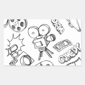 Entertainment Doodles Rectangular Sticker