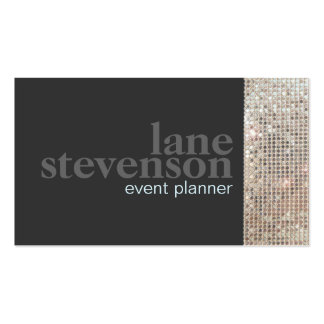 Entertainment  Sparkling FAUX Sequins Black 2 Double-Sided Standard Business Cards (Pack Of 100)