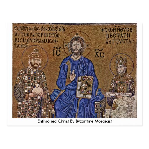 Enthroned Christ By Byzantine Mosaicist Postcard