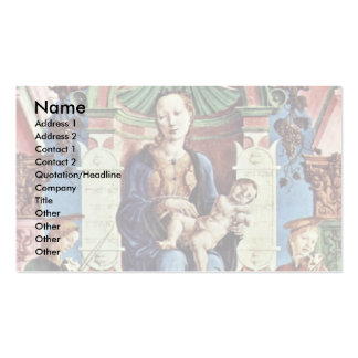Enthroned Madonna And Angel Musicians Business Card Template