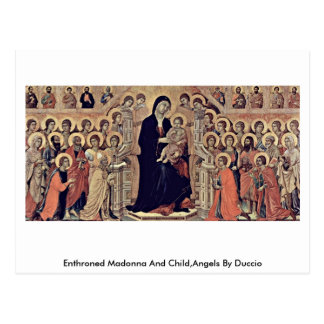 Enthroned Madonna And Child,Angels By Duccio Postcard