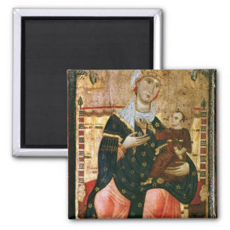 Enthroned Madonna and Child, c.1260 2 Inch Square Magnet