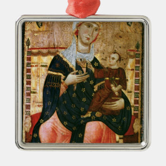 Enthroned Madonna and Child, c.1260 Square Metal Christmas Ornament