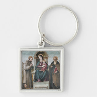 Enthroned Madonna and Child with Saints Key Chain