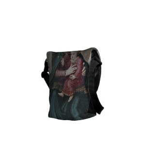 Enthroned Madonna and Child with Saints Messenger Bag