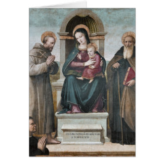 Enthroned Madonna and Child with Saints Note Card