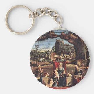 Enthroned Madonna And John The Baptist On The Left Basic Round Button Keychain