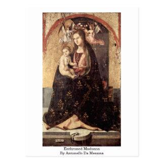 Enthroned Madonna By Antonello Da Messina Postcards