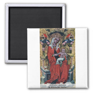 Enthroned Madonna By Böhmischer Meister Fridge Magnets
