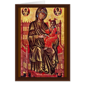 Enthroned Madonna By Italo-Byzantinischer Maler De Card