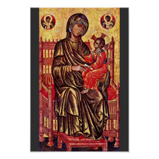 Enthroned Madonna By Italo-Byzantinischer Maler De Poster