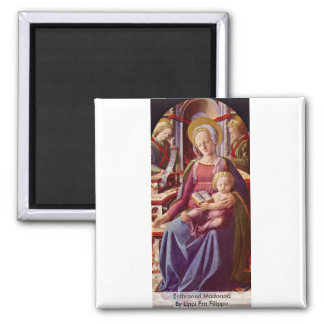 Enthroned Madonna By Lippi Fra Filippo 2 Inch Square Magnet