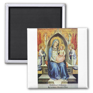 Enthroned Madonna By Lorenzo Monaco Don 2 Inch Square Magnet
