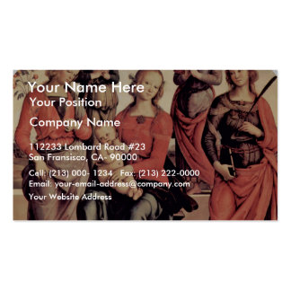 Enthroned Madonna With Two Angels St Rose And St Business Card Template