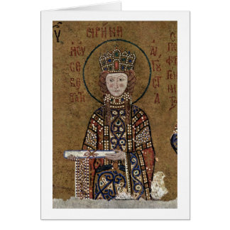 Enthroned Mary With Christ By Byzantine Mosaicist Card