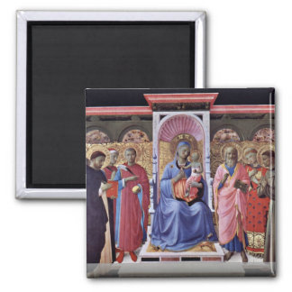 Enthroned Virgin And Child With Saints 2 Inch Square Magnet