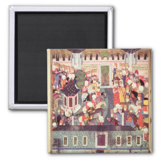 Enthronement of Suleyman the Magnificent 2 Inch Square Magnet