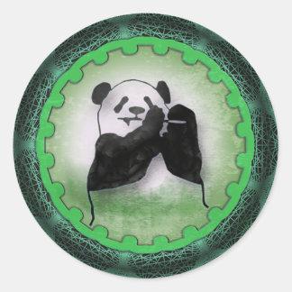 Enthusiastic Munching Panda Classic Round Sticker