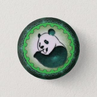 Enthusiastic Munching Panda in Green Pinback Button