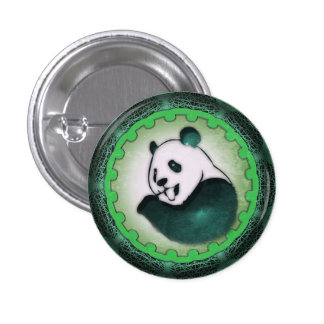 Enthusiastic Munching Panda in Green Pinback Button