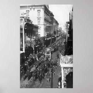 Entierro de Jefferson Davis en New Orleans: 1908 Póster