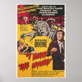 Entierro el poster de película de terror vivo