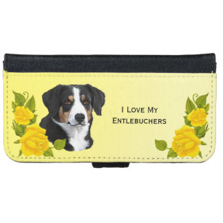 Entlebucher Mountain Dog and Yellow Roses Wallet Phone Case For iPhone 6/6s