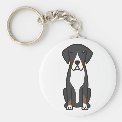 Entlebucher Mountain Dog Cartoon Key Chain