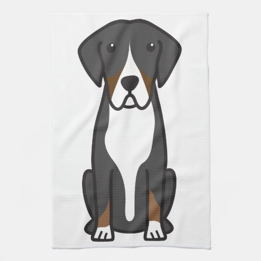 Entlebucher Mountain Dog Cartoon Hand Towel