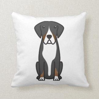 Entlebucher Mountain Dog Cartoon Throw Pillow