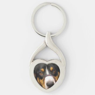 Entlebucher Mountain Dog Silver-Colored Heart-Shaped Metal Keychain