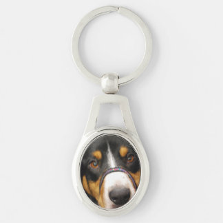 Entlebucher Mountain Dog Silver-Colored Oval Metal Keychain