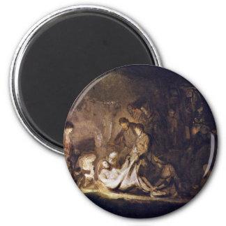 Entombment By Rembrandt Harmensz. Van Rijn Magnet
