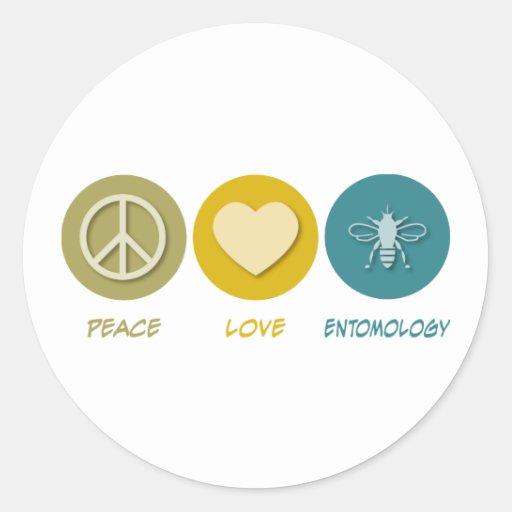 Entomología del amor de la paz etiqueta redonda