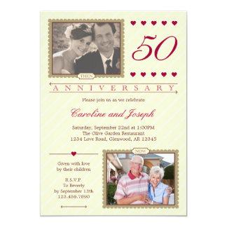 Entonces y ahora 50.a invitación del aniversario invitación 12,7 x 17,8 cm