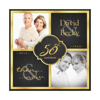 Entonces y ahora 50.o aniversario de boda 2015 impresión en lienzo