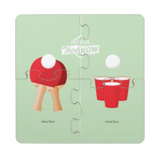 Entonces y ahora: Ping-pong Posavasos De Puzzle