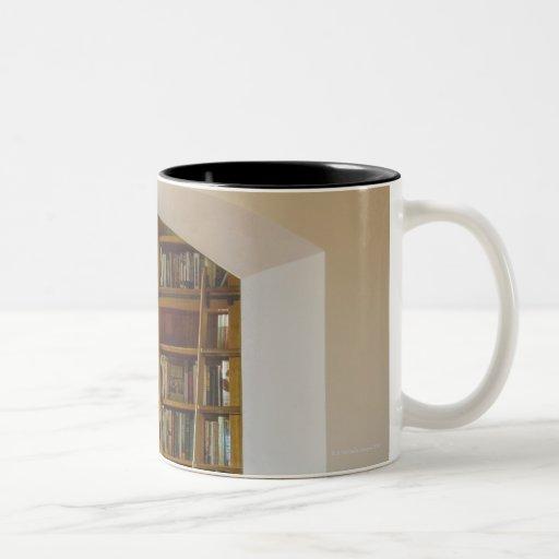 Entrada a la biblioteca casera taza de dos tonos
