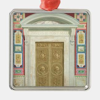 Entrada a la logia de Raphael en el Vatican, de Adorno Navideño Cuadrado De Metal