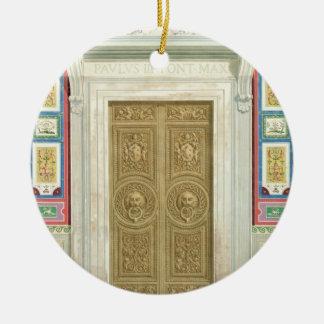 Entrada a la logia de Raphael en el Vatican, de Adorno Navideño Redondo De Cerámica