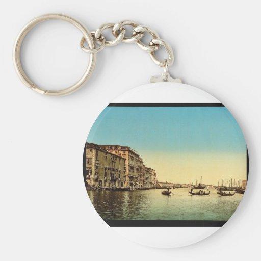 Entrada al Gran Canal, vintage Pho de Venecia, Ita Llavero Redondo Tipo Pin