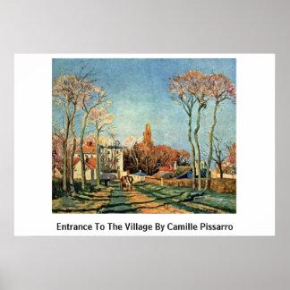 Entrada al pueblo de Camille Pissarro Poster