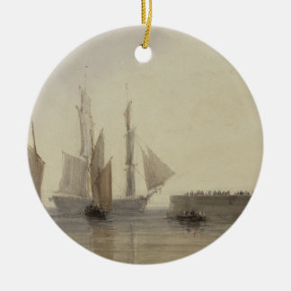 Entrada al puerto de Calais, 1829 (w/c, pluma y Adorno Redondo De Cerámica