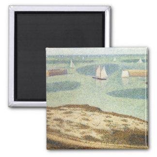 Entrada al puerto, Pointillism del vintage de Imán Cuadrado