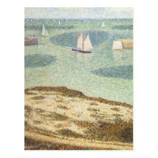 Entrada al puerto, Pointillism del vintage de Postal