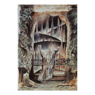 Entrada de Dante y de Virgil al infierno Póster