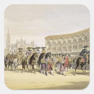 Entrada de los Toreros en la procesión, 1865 Calcomanías Cuadradass Personalizadas