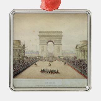 Entrada de Napoleon III en París Adorno Navideño Cuadrado De Metal